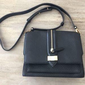 REBECCA MINKOFF Black Leather Crossbody Bag Zipper